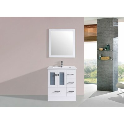 Terese Modern 30 Single Bathroom Vanity Set with Mirror Base Finish: White