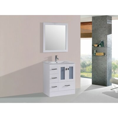 Lapoint Modern 30 Single Bathroom Vanity Set with Mirror Base Finish: White