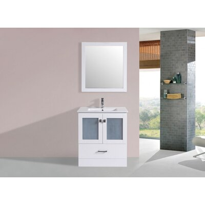 Terese Modern 30 Single Bathroom Vanity Set with Mirror Base Finish: White