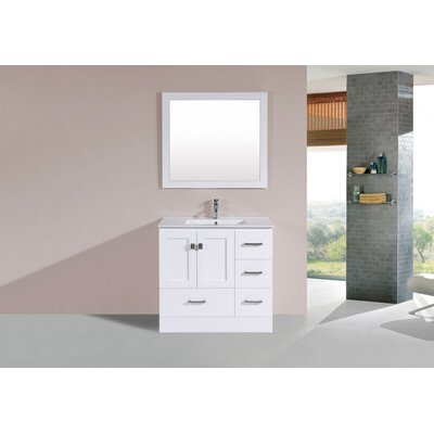 Luci 36 White Single Modern Bathroom Vanity with Integrated Sink and Mirror - Right