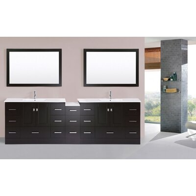 Luci 107 Espresso Double Modern Bathroom Vanity with Mirror