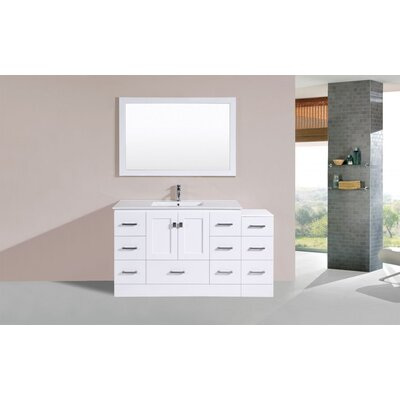 Luci 60 White Single Modern Bathroom Vanity Set with Mirror
