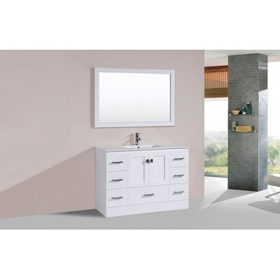 Luci 48 White Single Modern Bathroom Vanity Set with Mirror