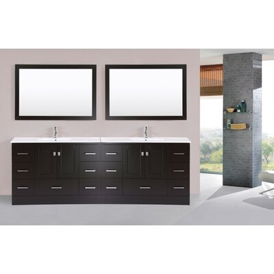 Luci 96 Espresso Double Modern Bathroom Vanity with Integrated Sinks and Mirrors