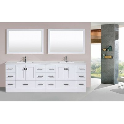 Luci 95 White Double Modern Bathroom Vanity with Integrated Sinks and Mirrors