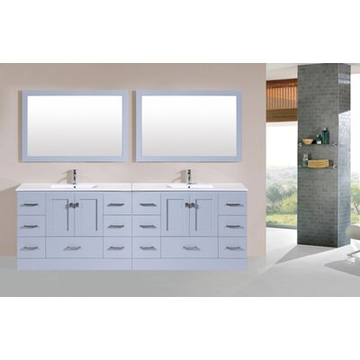 Luci 95 Gray Double Modern Bathroom Vanity with Integrated Sinks and Mirrors