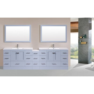 Luci 107 Gray Double Modern Bathroom Vanity with Mirror