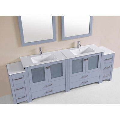 Lyn Modern 96 Double Bathroom Vanity Set Base Finish: Gray