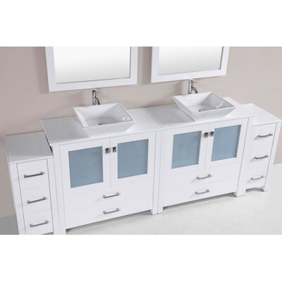 Lyn Modern 96 Double Bathroom Vanity Set Base Finish: White