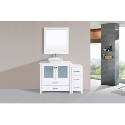 Lyn Modern 48 Single Bathroom Vanity Set with Mirror Base Finish: White