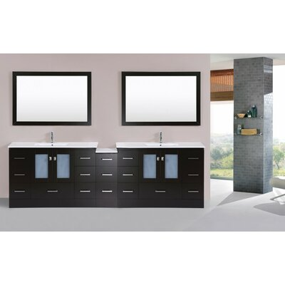 Terese Modern 108 Double Bathroom Vanity with Mirror Base Finish: Espresso