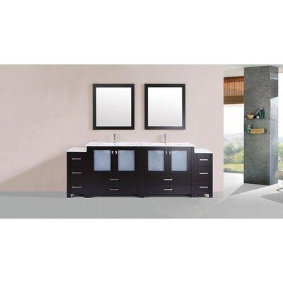 Lyn Modern 96 Double Bathroom Vanity Set with Mirror Base Finish: Espresso