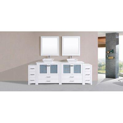 Lyn Modern 96 Double Bathroom Vanity Set with Mirror Base Finish: White