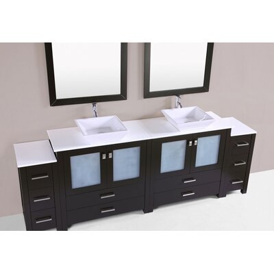 Lyn Modern 96 Double Bathroom Vanity Set Base Finish: Espresso