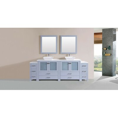 Lyn Modern 96 Double Bathroom Vanity Set with Mirror Base Finish: Gray