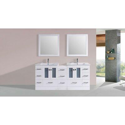Terese Modern 72 Double Bathroom Vanity Set with Mirror Base Finish: White