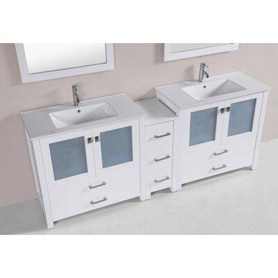 Lyn Modern 83 Double Bathroom Vanity Set Base Finish: White