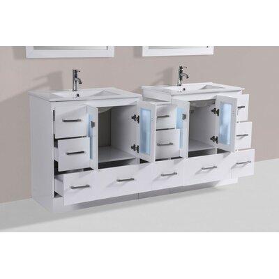 Terese Modern 72 Double Bathroom Vanity Set with Mirror Base Finish: Espresso