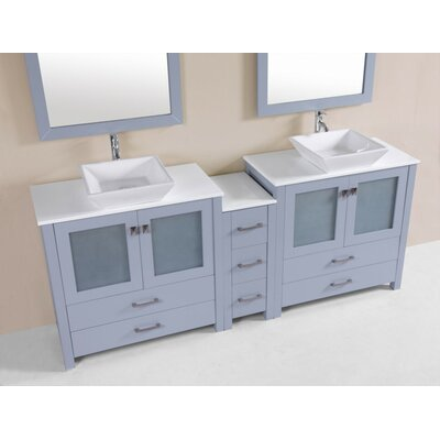 Lyn Modern 84 Double Bathroom Vanity Set Base Finish: Gray