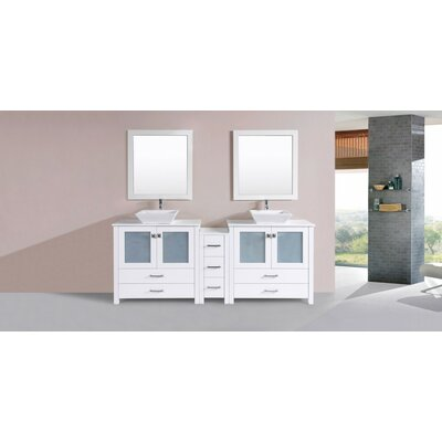 Lyn Modern 84 Double Bathroom Vanity Set with Mirror Base Finish: White