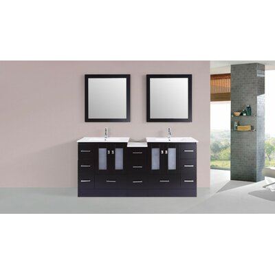 Terese Modern 72 Double Bathroom Vanity Set Base Finish: Espresso