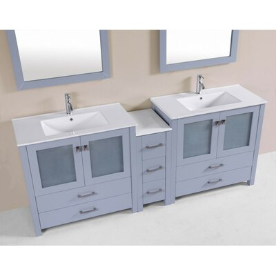 Lyn Modern 83 Double Bathroom Vanity Set Base Finish: Gray