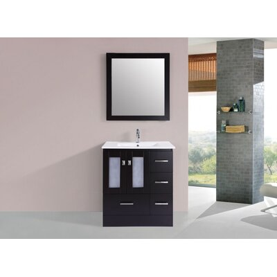 Terese Modern 30 Single Bathroom Vanity Set with Mirror Base Finish: Espresso
