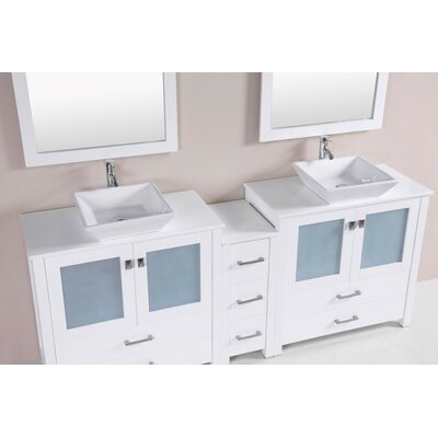 Lyn Modern 84 Double Bathroom Vanity Set Base Finish: White