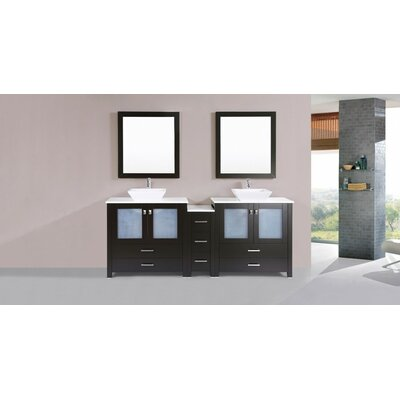 Lyn Modern 84 Double Bathroom Vanity Set with Mirror Base Finish: Espresso