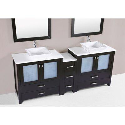 Lyn Modern 84 Double Bathroom Vanity Set Base Finish: Espresso