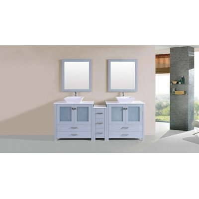 Lyn Modern 84 Double Bathroom Vanity Set with Mirror Base Finish: Gray