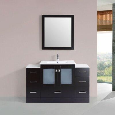 Terese Modern 54 Single Bathroom Vanity Set with Mirror Base Finish: Espresso