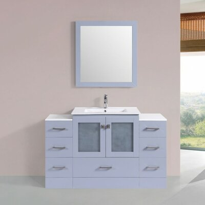 Terese Modern 54 Single Bathroom Vanity Set with Mirror Base Finish: Gray