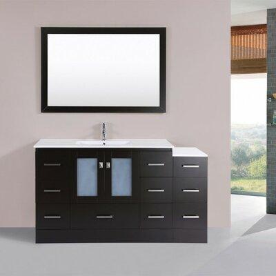 Terese Modern 60 Single Bathroom Vanity Set with Mirror Base Finish: Espresso
