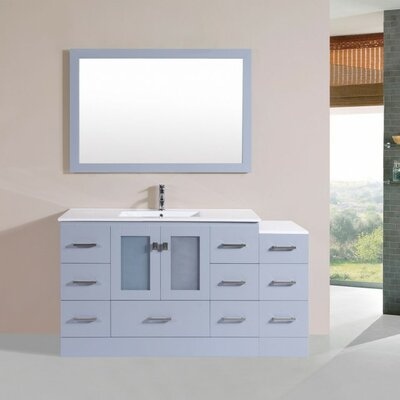 Terese Modern 60 Single Bathroom Vanity Set with Mirror Base Finish: Gray