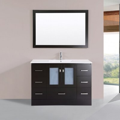 Terese Modern 48 Single Bathroom Vanity Set with Mirror Base Finish: Espresso