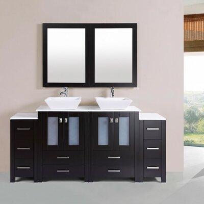 Lyn Modern 72 Double Bathroom Vanity Set with Mirror Base Finish: Espresso