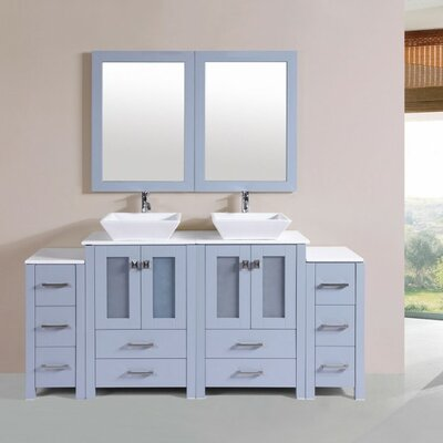 Lyn Modern 72 Double Bathroom Vanity Set with Mirror Base Finish: Gray