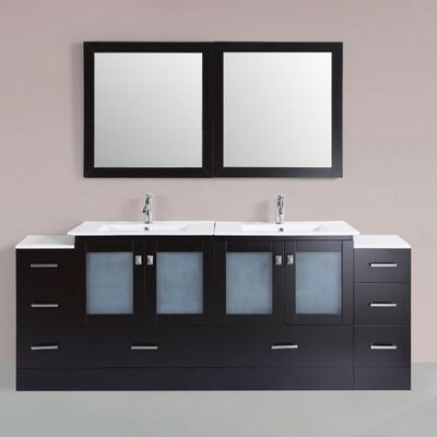 Terese Modern 84 Double Bathroom Vanity Set with Mirror Base Finish: Espresso