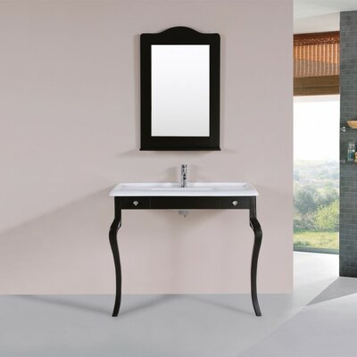 Buswell Traditional ADA 40 Single Bathroom Vanity Set with Mirror Base Finish: Espresso