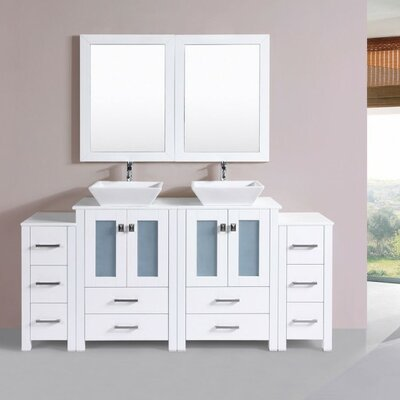 Lyn Modern 72 Double Bathroom Vanity Set with Mirror Base Finish: White
