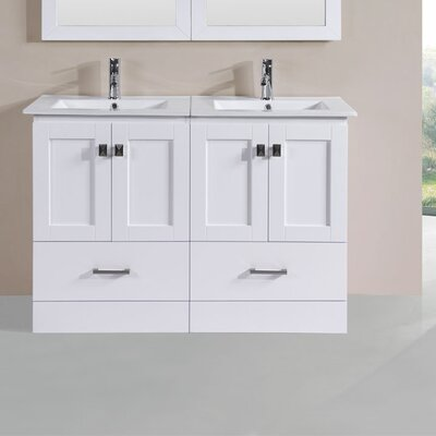 Luci Modern 48 Double Bathroom Vanity Set Base Finish: White