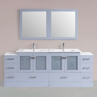 Terese Modern 84 Double Bathroom Vanity Set with Mirror Base Finish: Gray