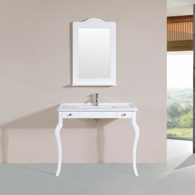 Buswell Traditional ADA 40 Single Bathroom Vanity Set with Mirror Base Finish: White