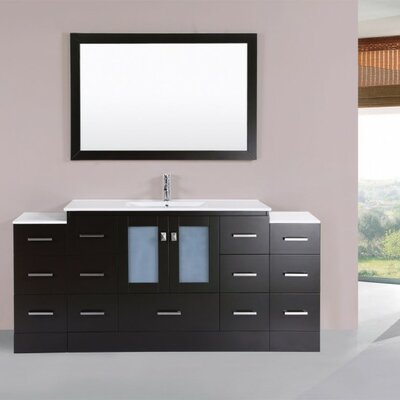 Terese Modern 72 Single Bathroom Vanity Set with Mirror Base Finish: Espresso