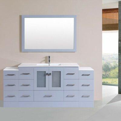 Terese Modern 72 Single Bathroom Vanity Set with Mirror Base Finish: Gray