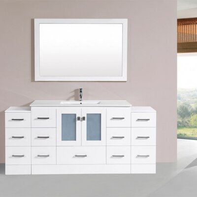 Terese Modern 72 Single Bathroom Vanity Set with Mirror Base Finish: White