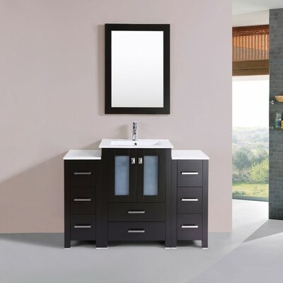Lyn Modern 48 Single Bathroom Vanity Set with Mirror Base Finish: Espresso