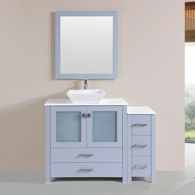 Lyn Modern 48 Single Bathroom Vanity Set with Mirror Base Finish: Gray