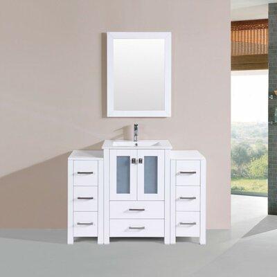 Lyn Modern 48 Single Bathroom Vanity Set with Mirror Base Finish: White